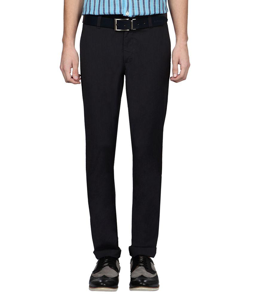 Allen Solly Black Slim Fit Flat Trousers