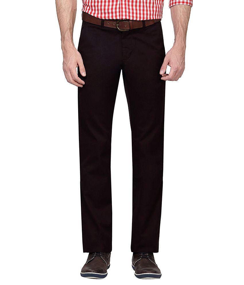 Allen Solly Brown Regular Fit Flat Trousers