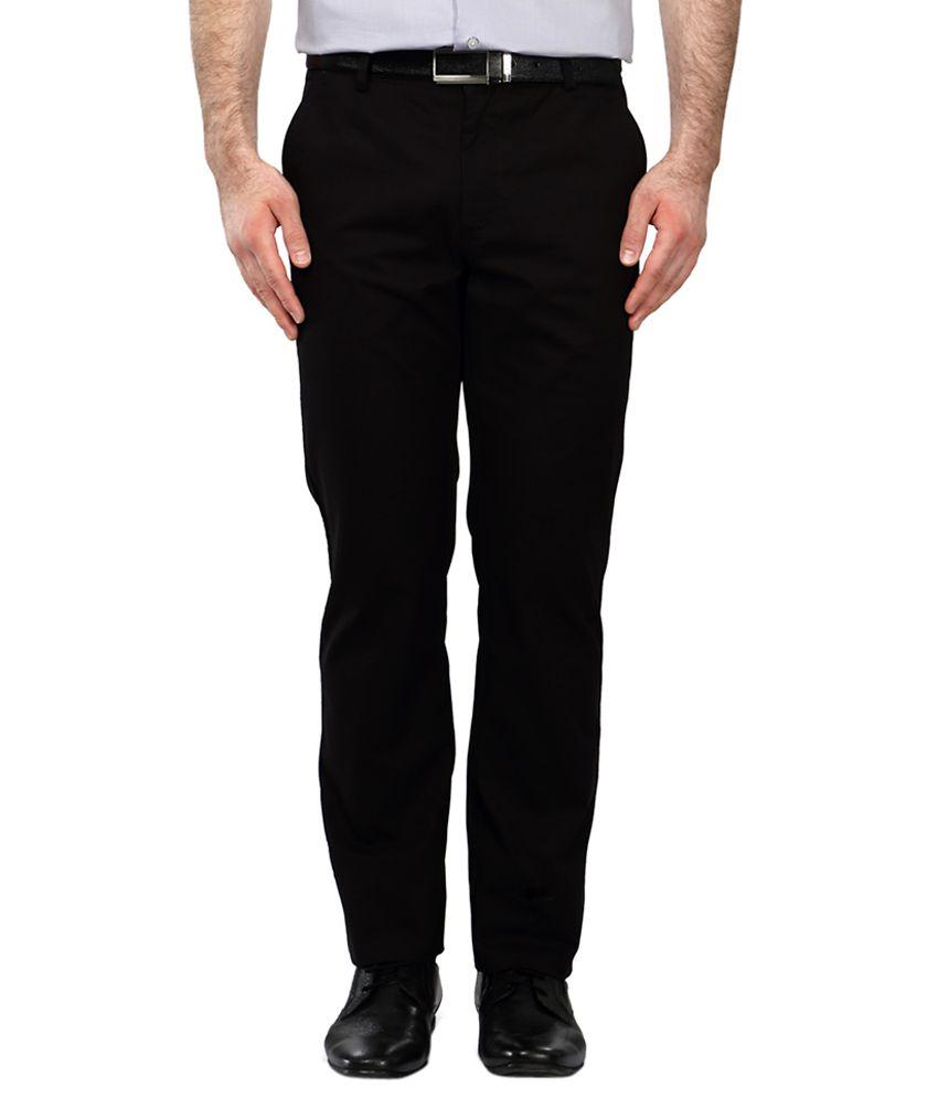 Allen Solly Navy Regular Fit Flat Trousers