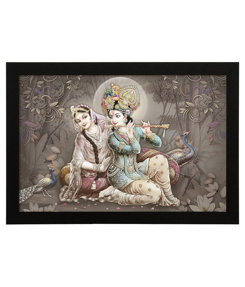 Delight Wooden Flute Krishna Radha Digital Printed Uv Photo Frame