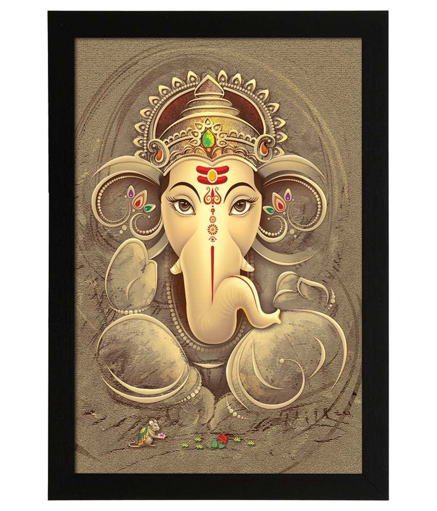 Delight Wooden Ganesha Vector Digital Printed Uv Photo Frame