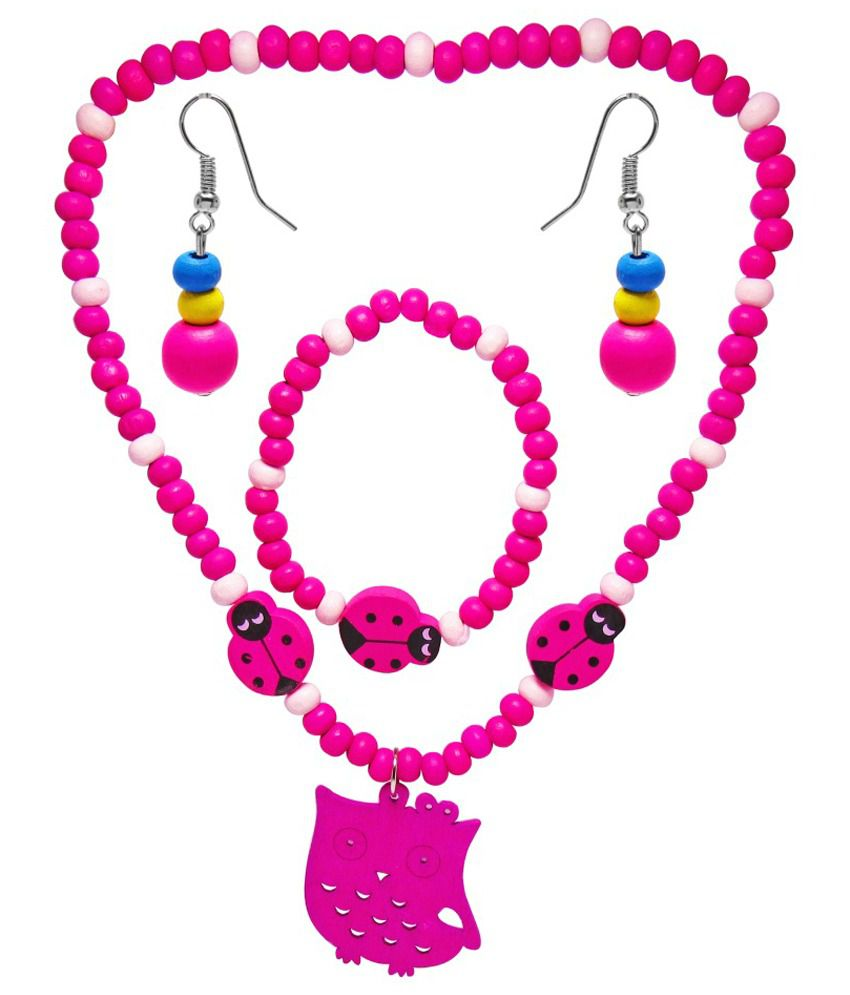 Jewelz Pink Antique Necklace Set