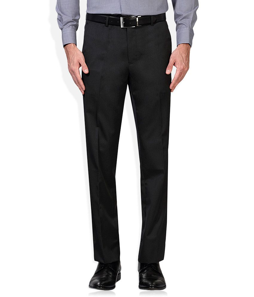 Van Heusen Grey Regular Fit Flat Trousers