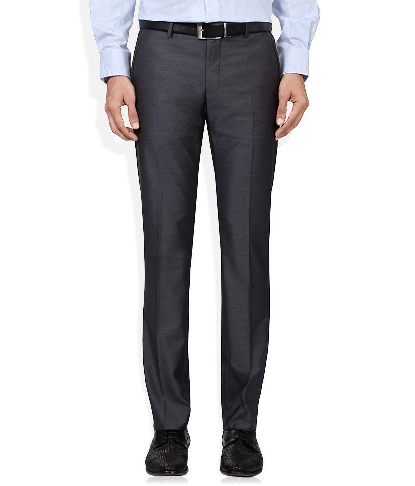Van Heusen Grey Regular Fit Flat Trousers