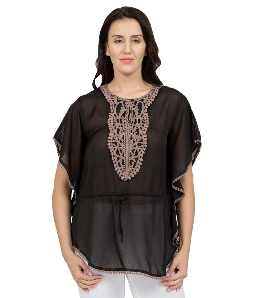 Desi Belle Black Poly Georgette Kaftans