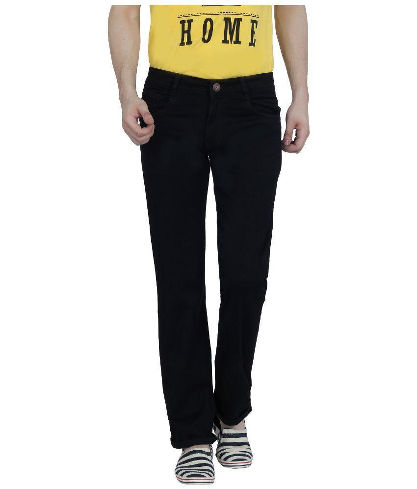Louppee Black Regular Fit Jeans for Men