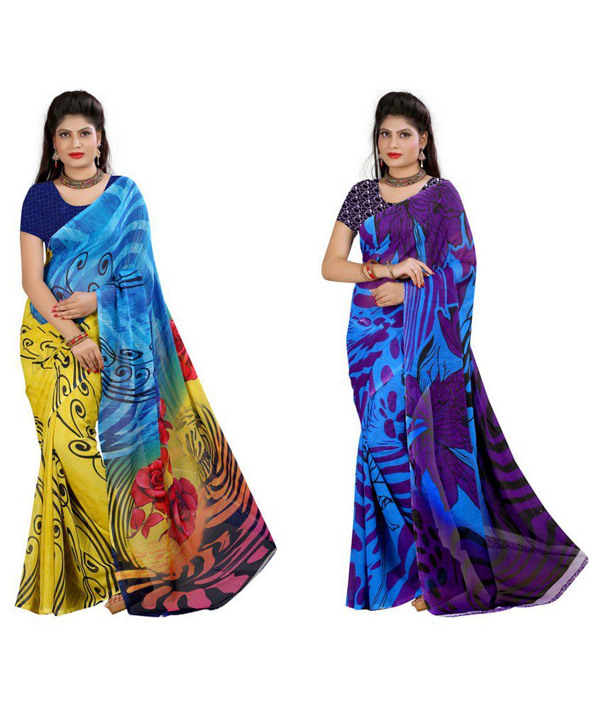 Yogalz Multi Color Georgette Pack Of 2