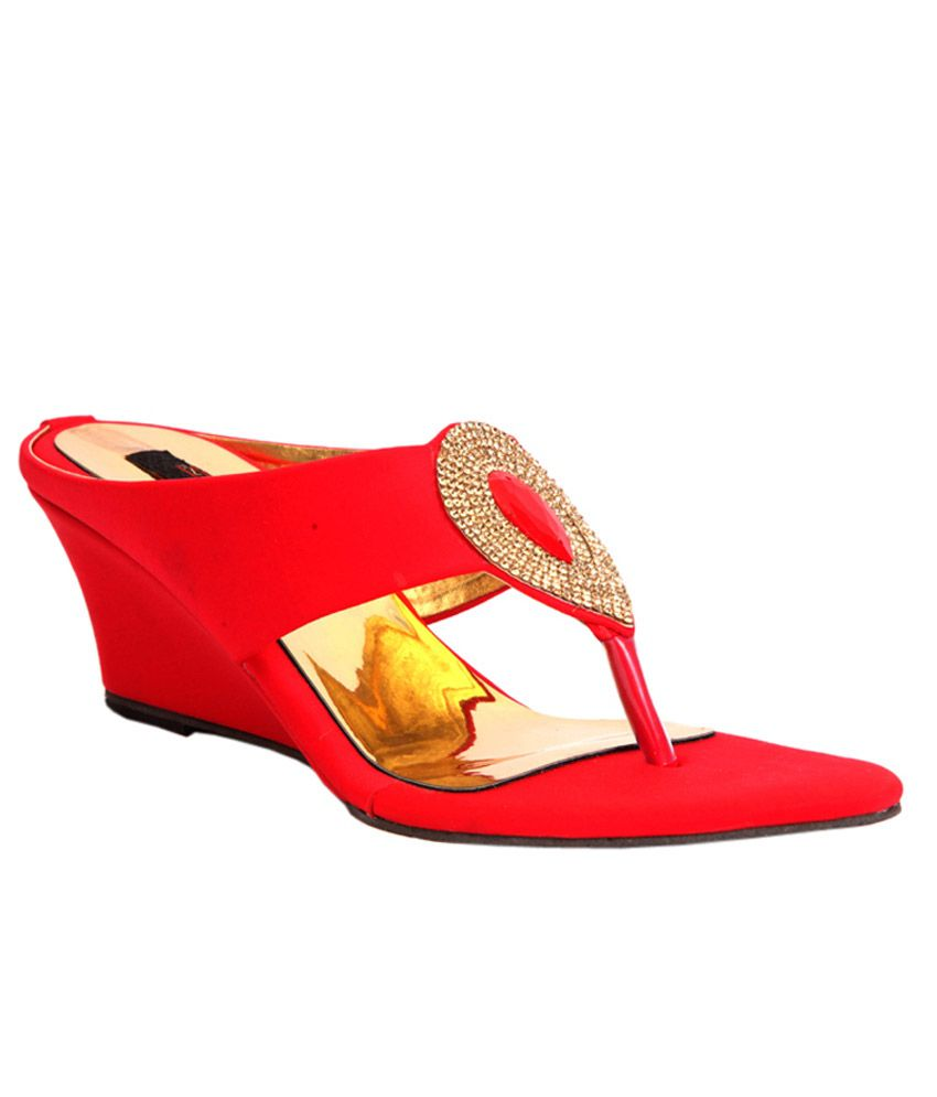 Trilokani Fancy Red Slipper For Women