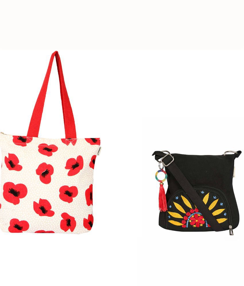 5872e3ea088 Pick Pocket Combo Of Ecru And Poppy Flower Printed Canvas Tote Bag With  Canvas Sling Bag With Yellow And Embroide Sunflower - Red - Buy Pick Pocket  Combo Of ...
