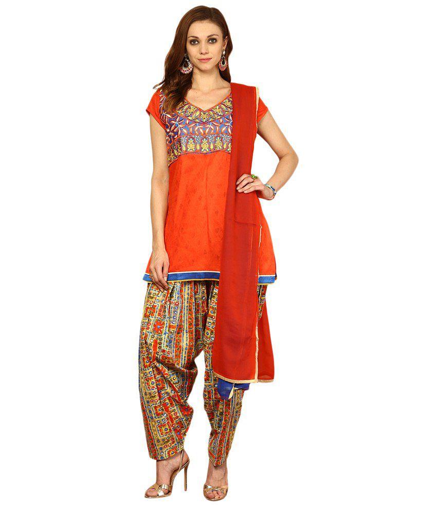 Yepme Orange & Blue Hebe Embroidered A Line Kameez with Leggings & Dupatta