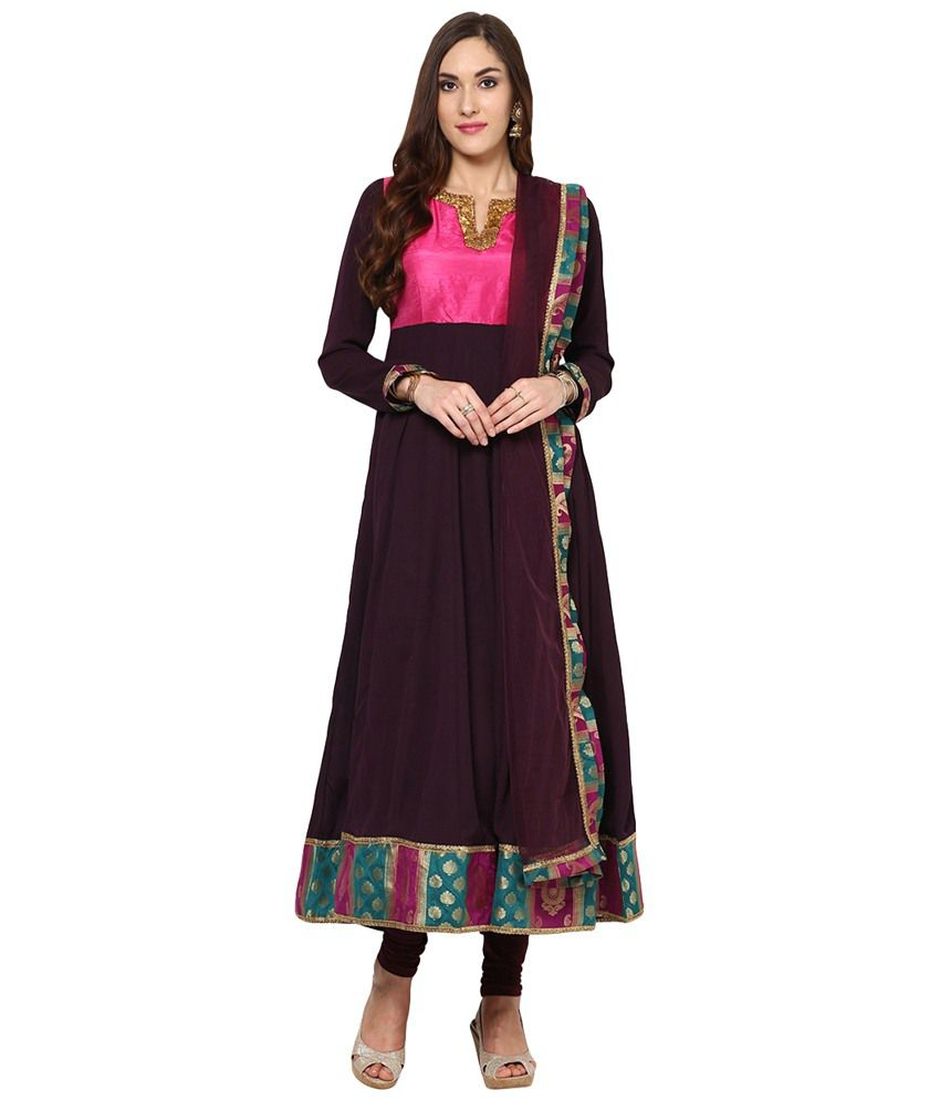Yepme Pink & Brown Zenzi Embroidered A Line Kameez with Leggings & Dupatta