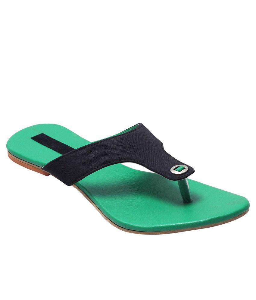 Fabme Green Flat Slippers