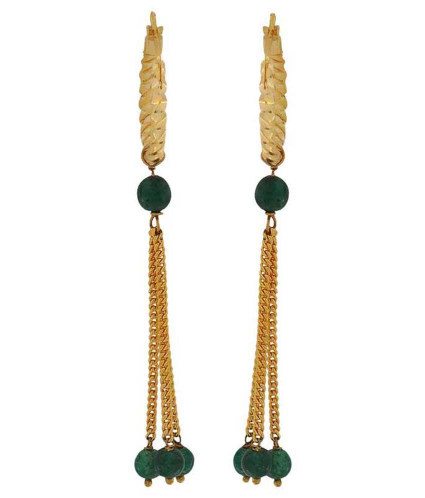 Maayra Green Brass Hoop Earrings