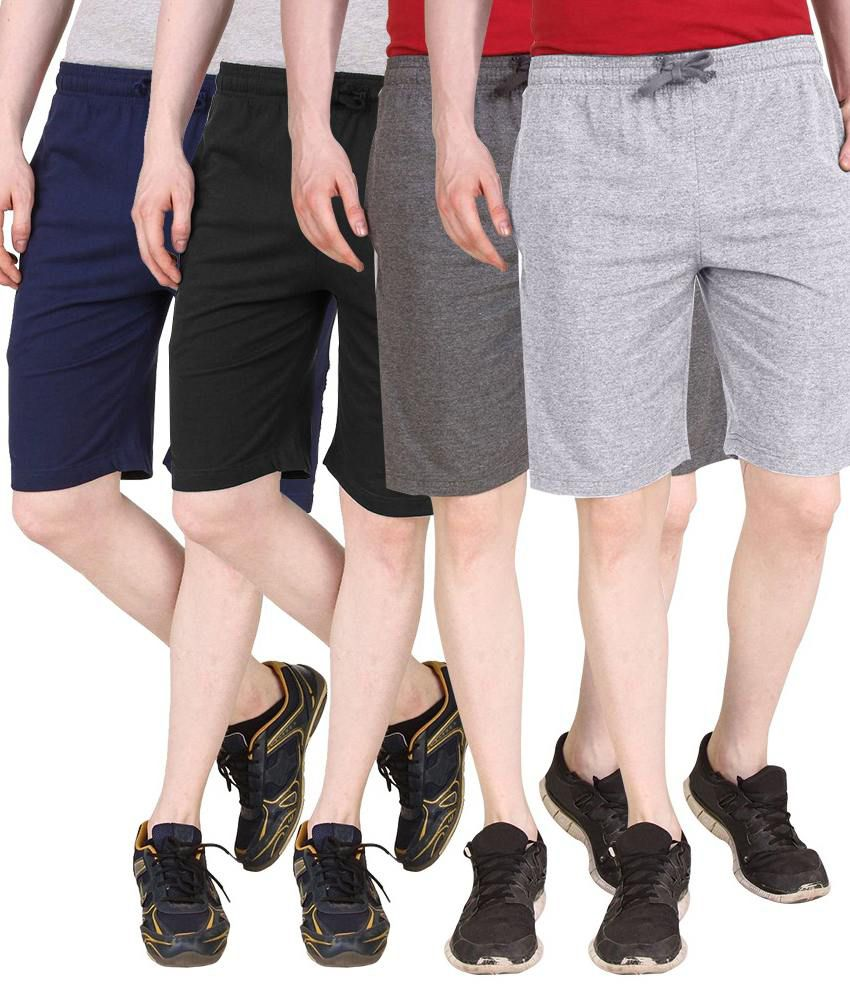 Nicewear Multicolor Cotton Solids Shorts - Pack Of 4