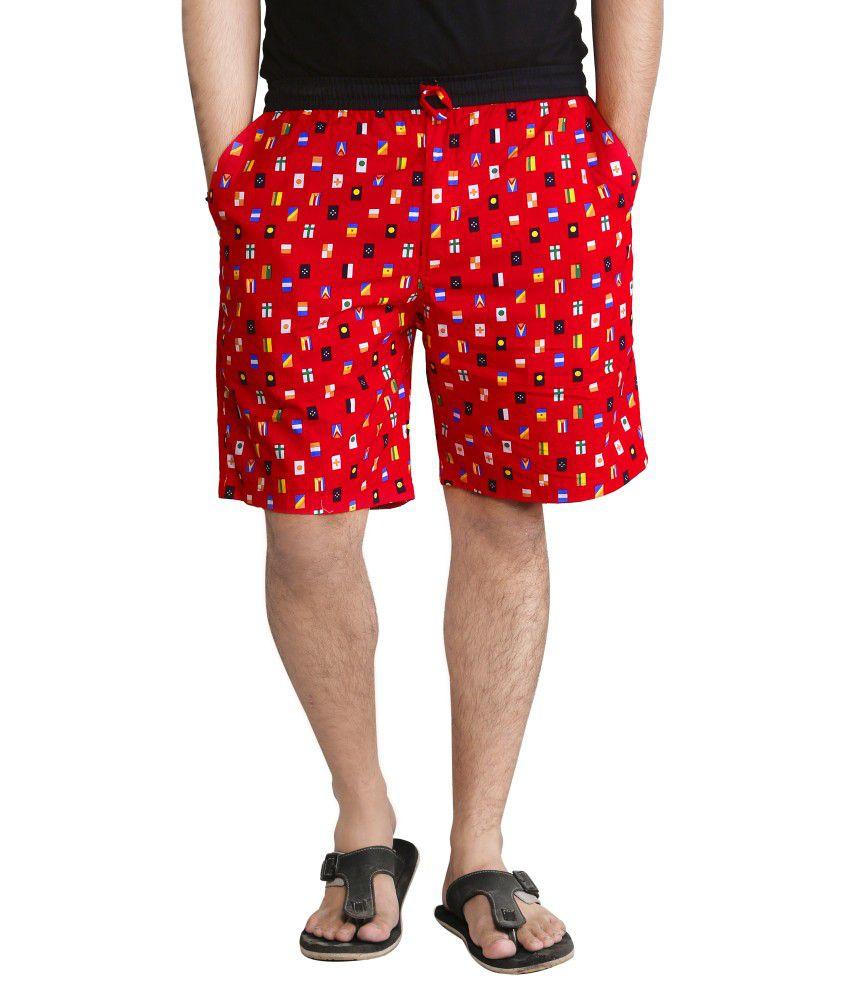 Night King Red Cotton Printed Shorts