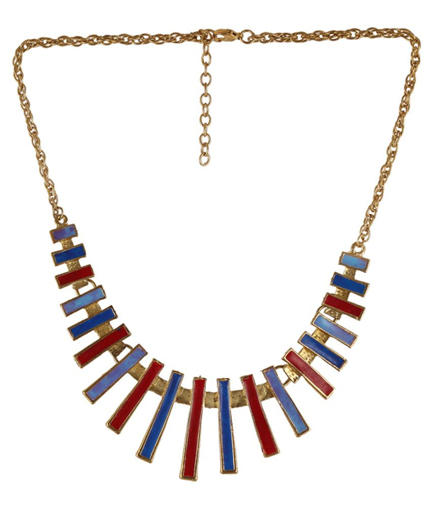 Nyaara Red And Blue Casual Hit Necklace