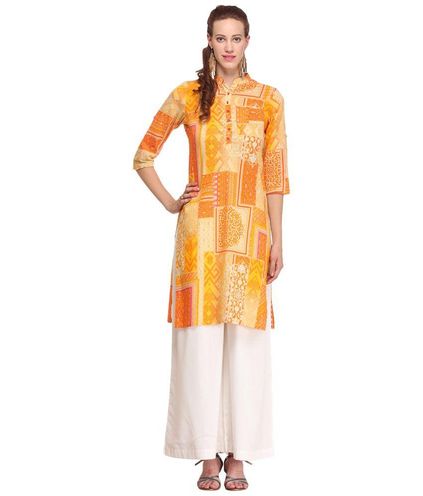 Pehraan Orange & Yellow Three Fourth Sleeve Printed Kurta