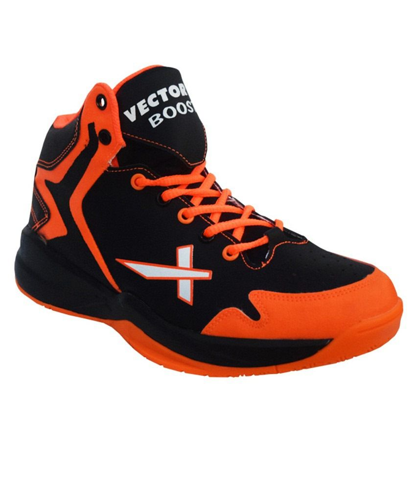 0134e4be3e89d8 Vector X Boost Black   Orange Basketball Shoes  Buy Online at Best Price on  Snapdeal