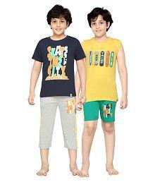 Punkster Combo Of Multicolour T Shirt & Bottom For Boys