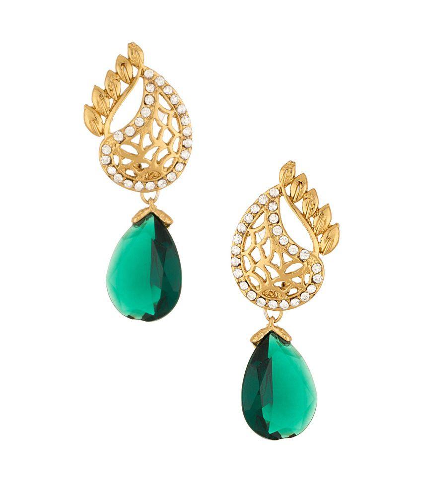 Voylla Golden Alloy Crystal Hanging Dangle Earrings