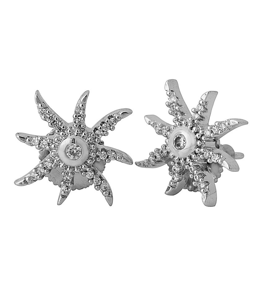 Voylla Silver Alloy Cz Stud Earrings