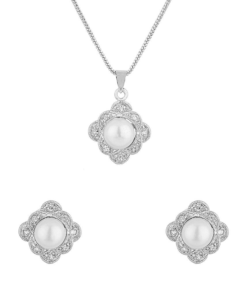 Voylla Silver Alloy Pearl Stud Earrings