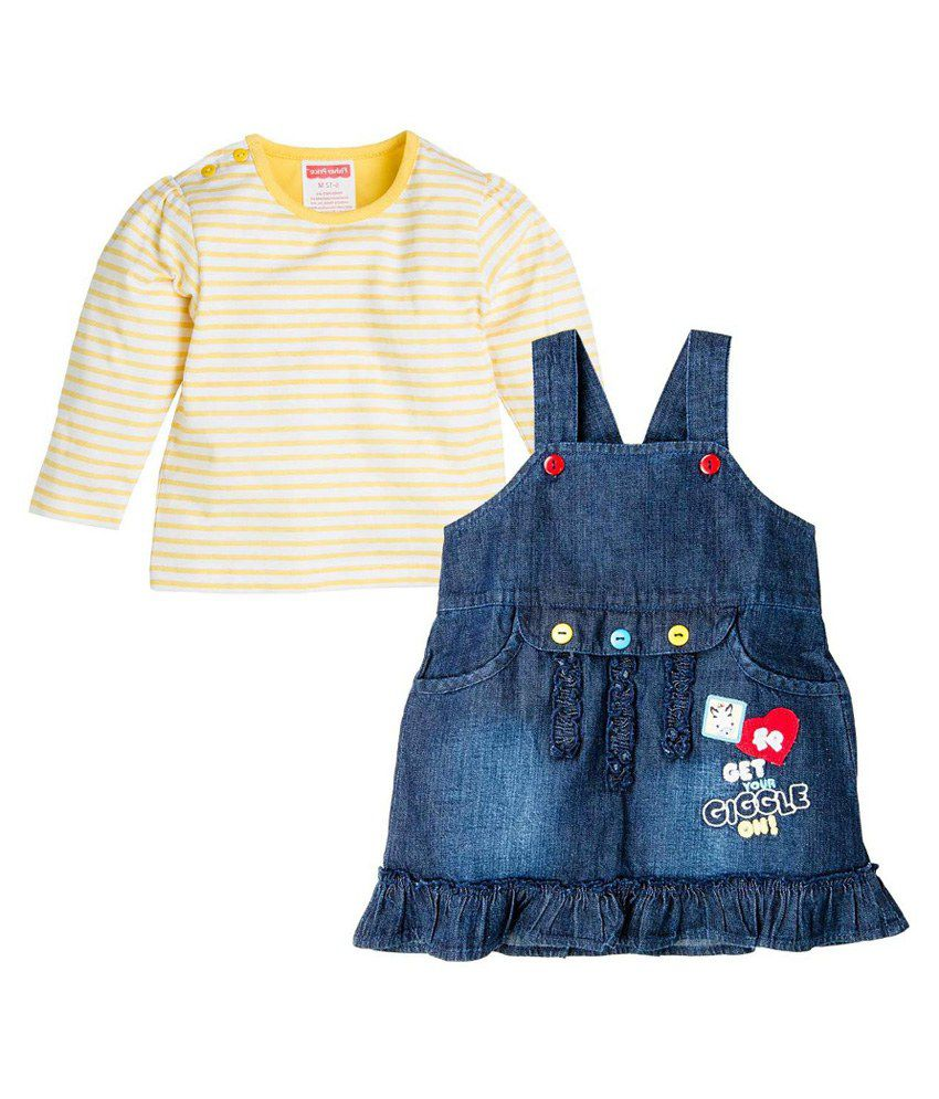 Fisher Price Apparel Yellow And Blue Dungree - Pack Of 2
