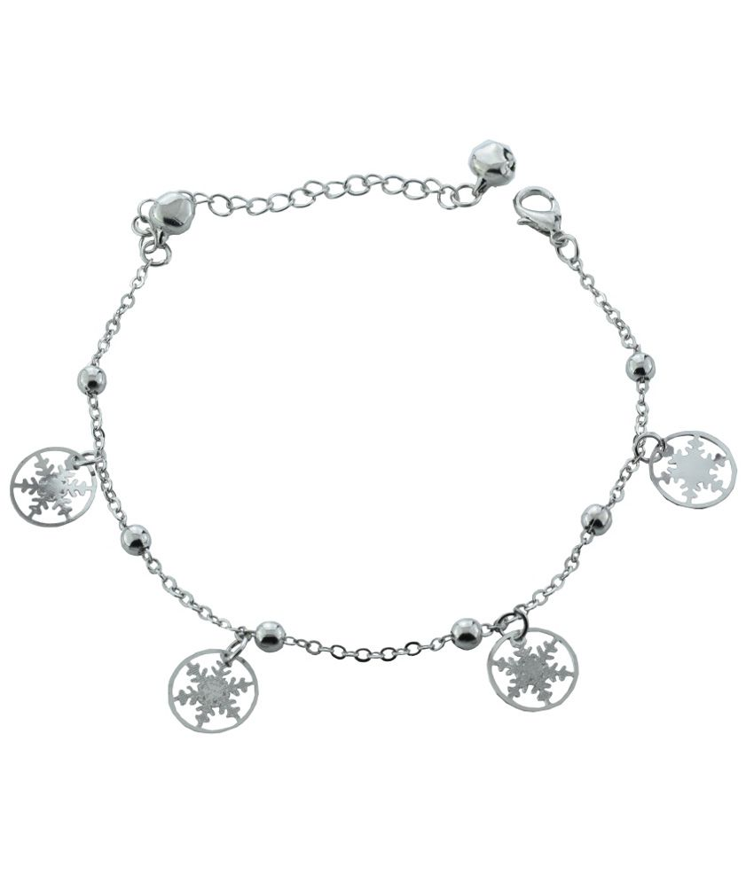High Trendz Siver Snow flakes Copper Anklet For Women