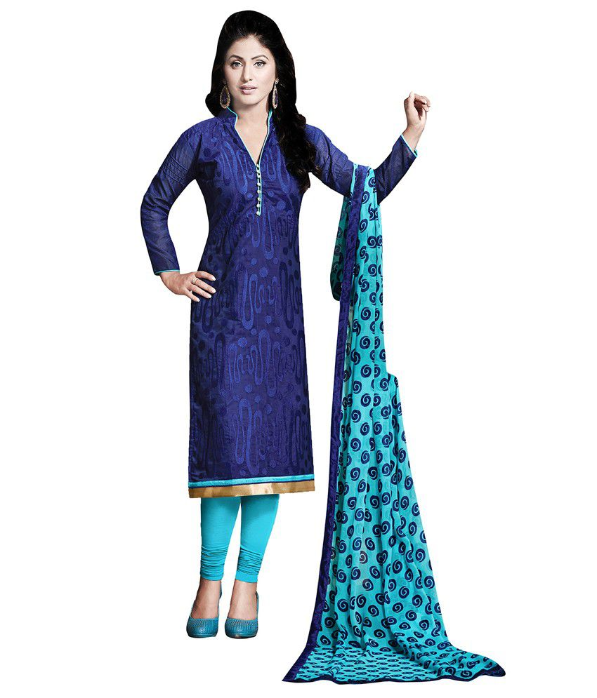 Apple Creation Blue Chanderi Unstitched Dress Material