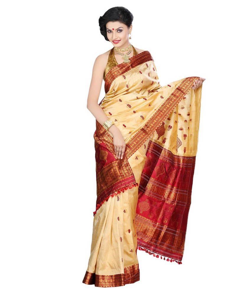 Assam Silk Saree Red and Beige Silk Saree - Buy Assam Silk Saree Red and  Beige Silk Saree Online at Low Price - Snapdeal.com