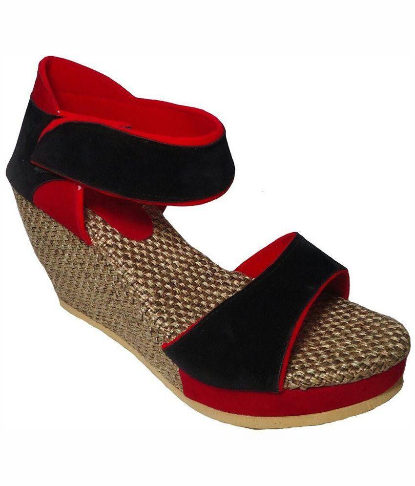 Madam Choice Red Wedge Heels