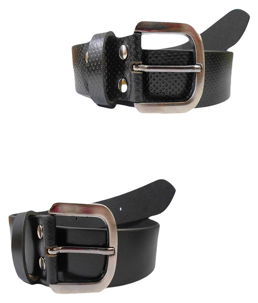 Psychovest Black Leather Belt Set Of 2