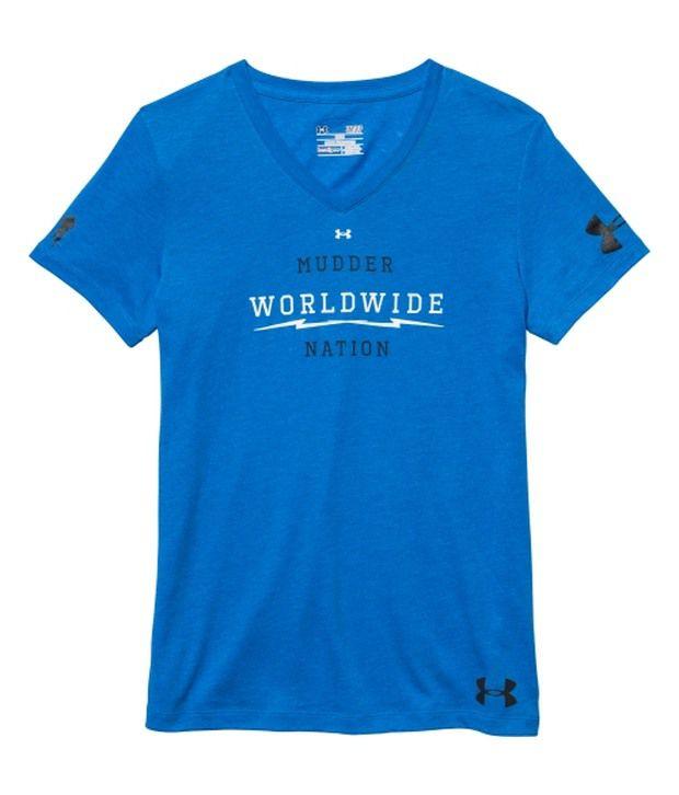 Under Armour Blue Women's Tough Mudder Charged Cotton Tri-Blend V-Neck T-Shirt
