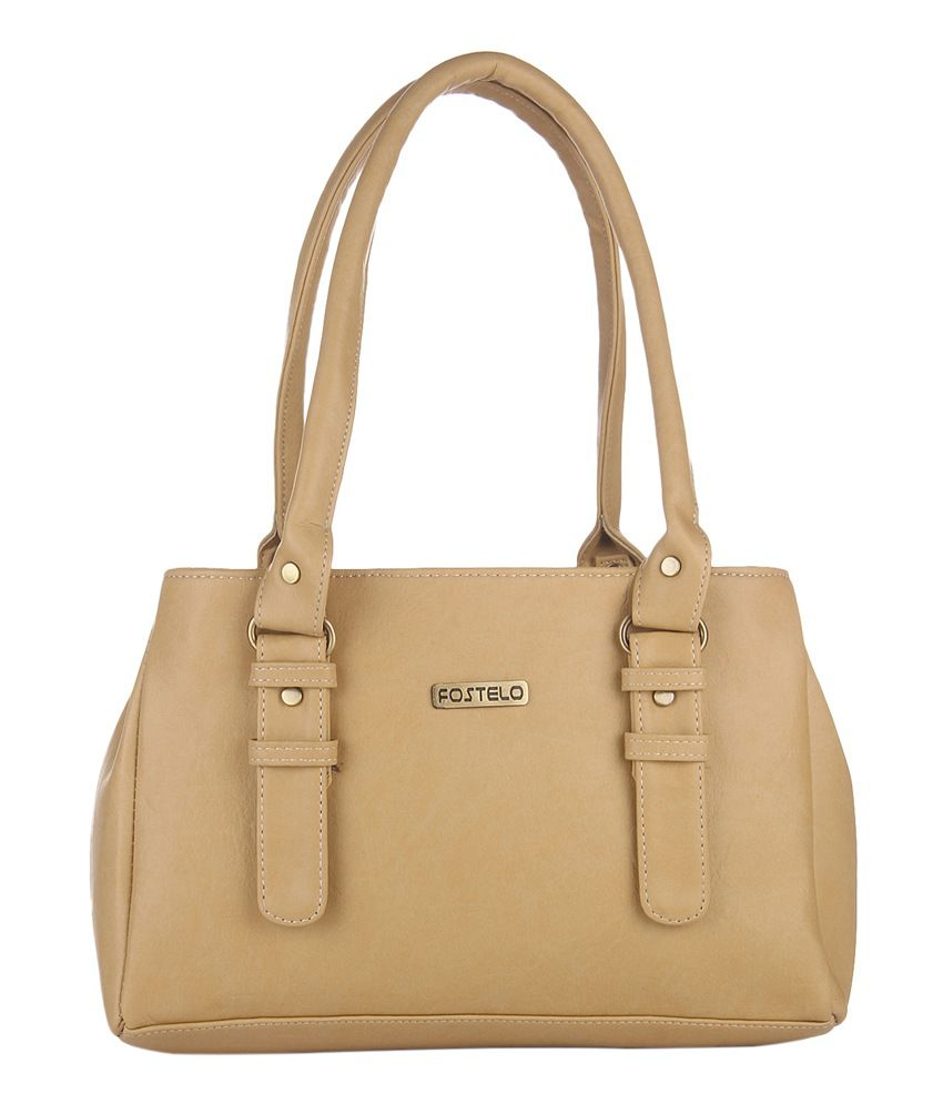 Fostelo Beige Faux Leather Shoulder Bag