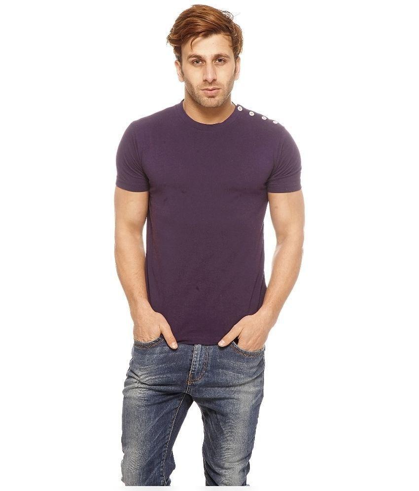 Gritstones Purple Cotton T-Shirt