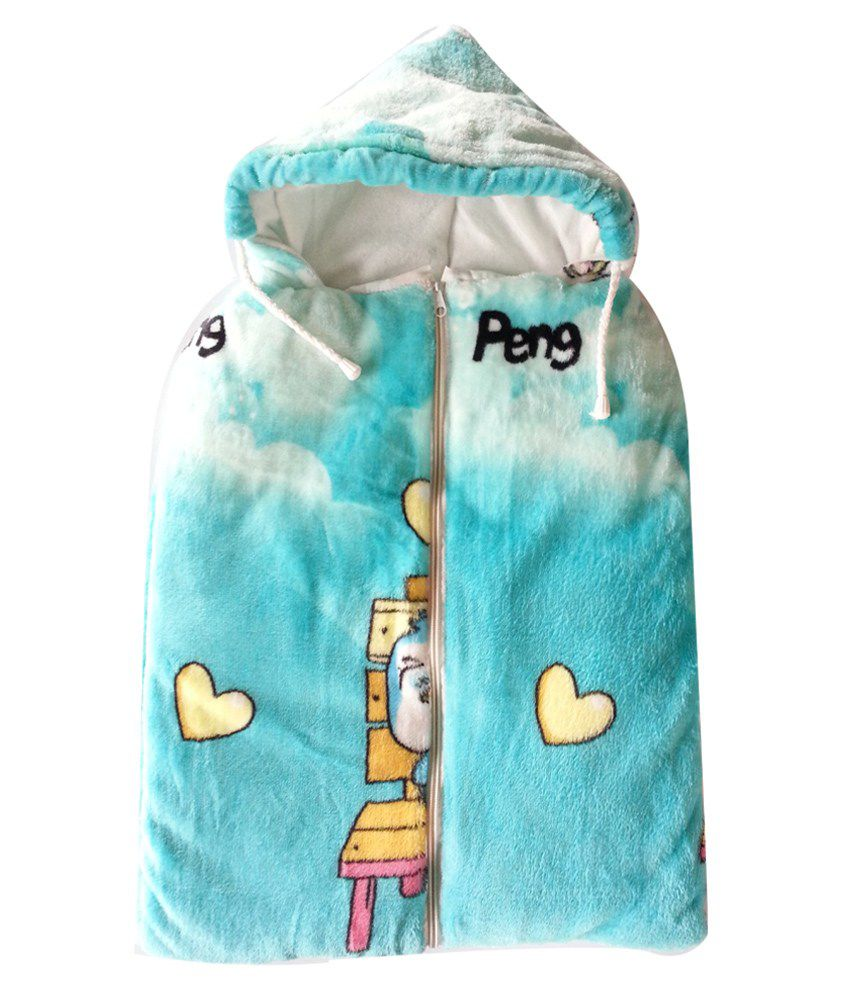 Cute Baby Blue And White Mink Baby Sleeping Bag