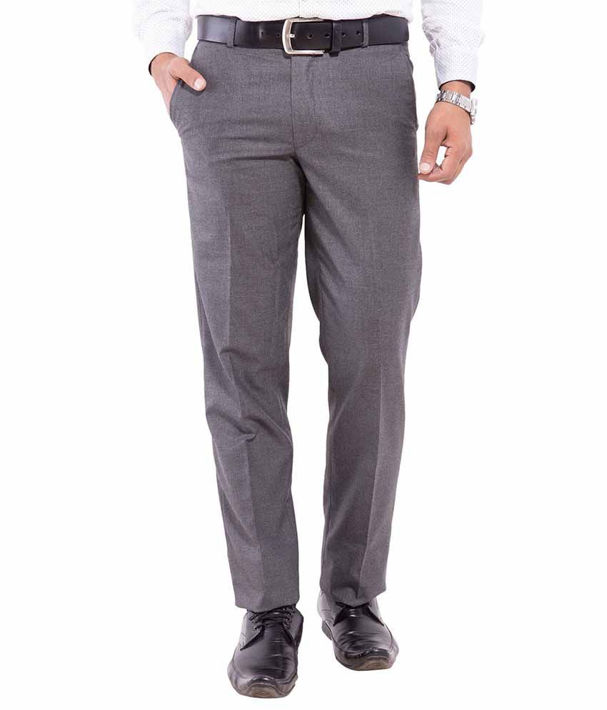 Pure Grade Grey Cotton Formal Pleated Trousers