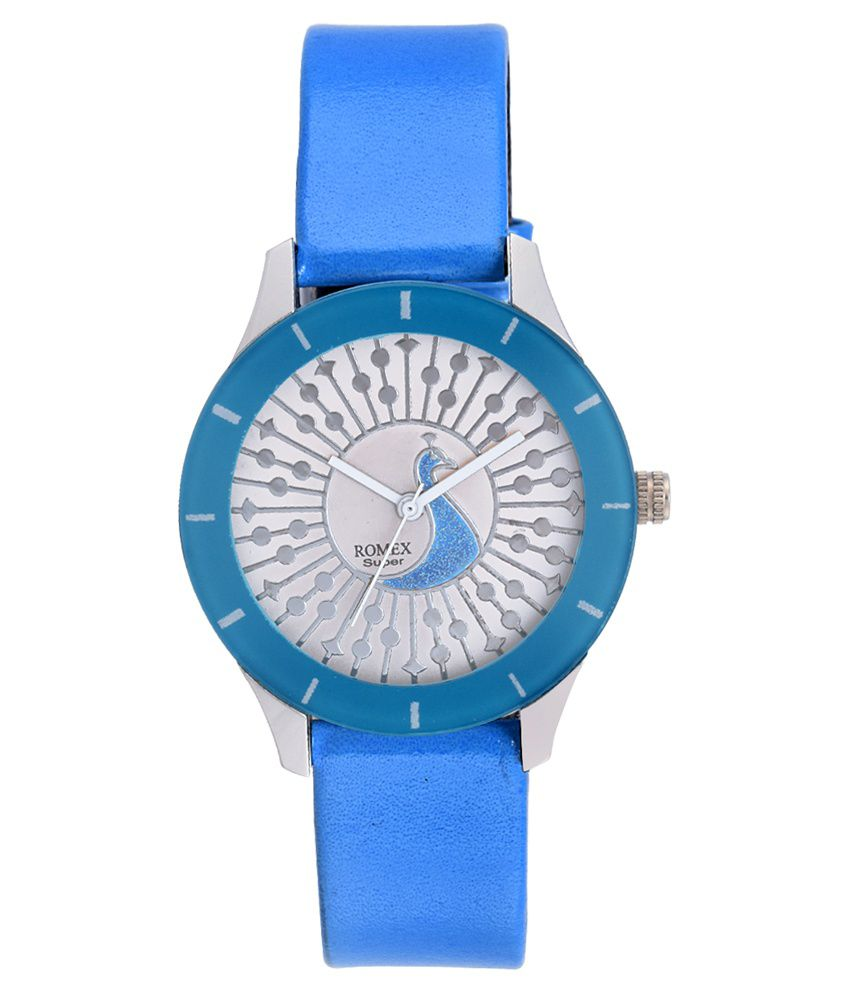 Romex Super Romex Super Blue Leather Analog Watch