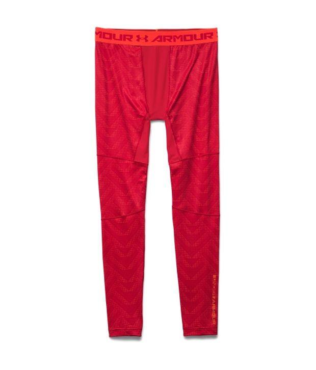 Under Armour Under Armour Men's Coldgear Armour Printed Compression Leggings Bolt Orange/red