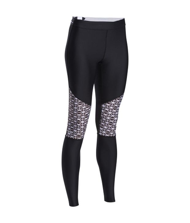 Under Armour Under Armour Women's Heatgear Armour Print Inset Leggings Black/white