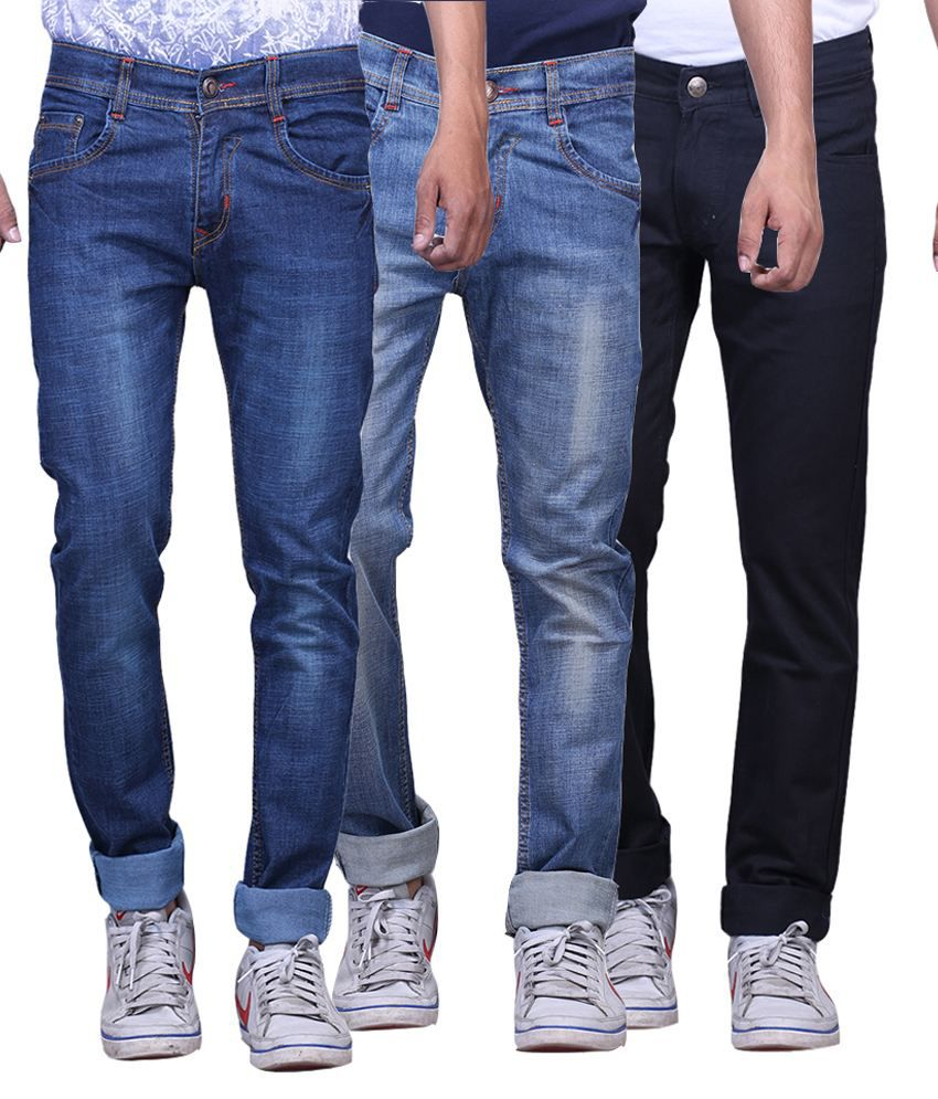 X-cross Blue And Black Slim Fit Jeans - Pack Of 3