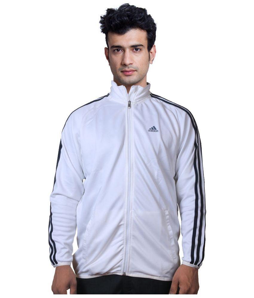 Adidas White Full Sleeve Polyester High Neck Sweatshirt