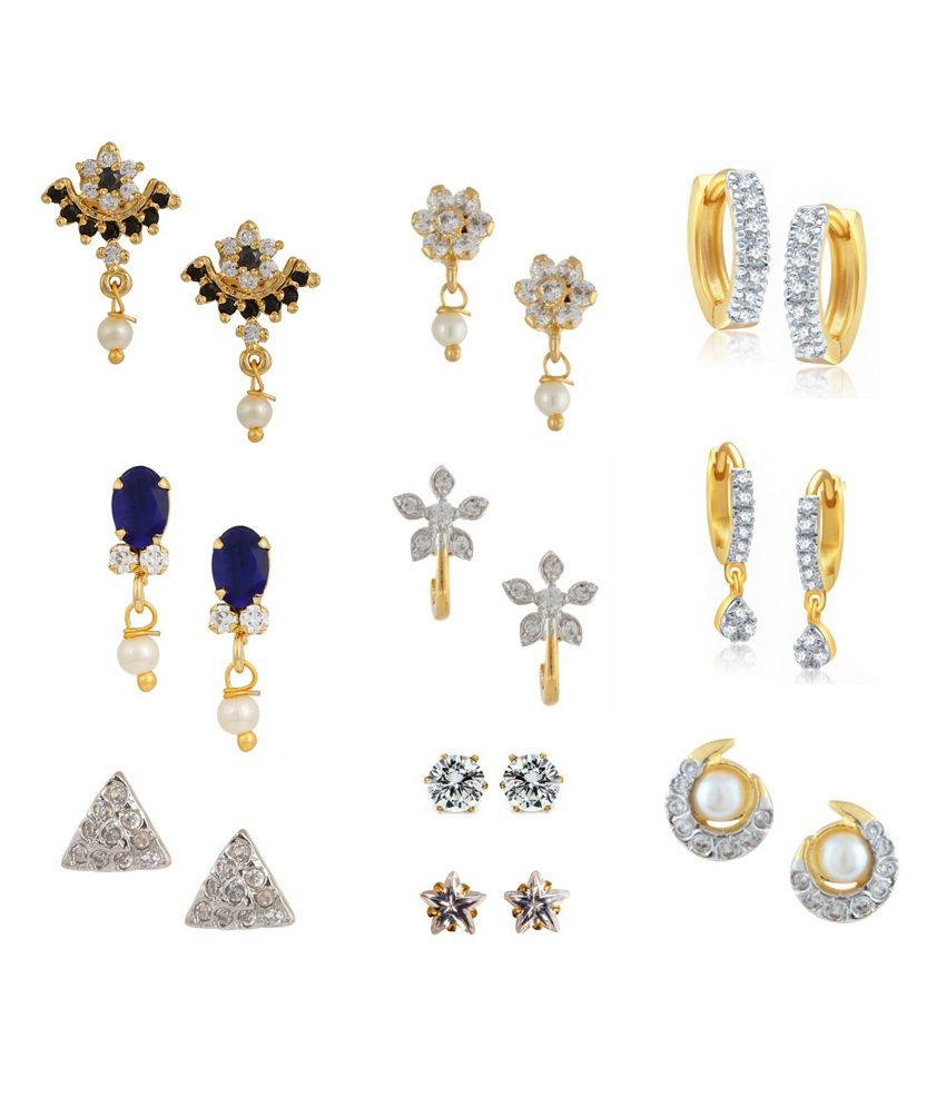 Archi Collection Multicolour American Diamond Alloy Earrings Combo - Set Of 10