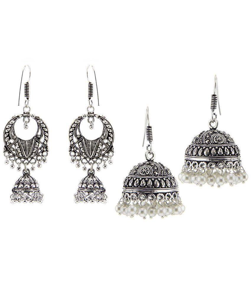 Kaizer Jewelry Silver Jhumki Earrings - Set of 2