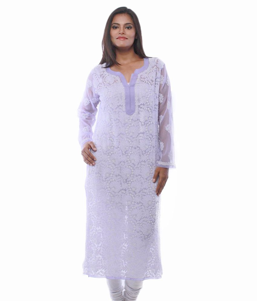 Ada Purple Faux Georgette Kurti
