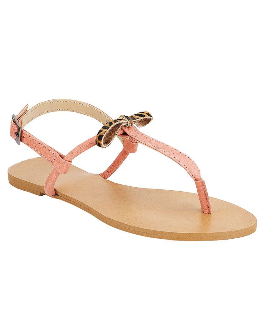 Agastya Peach Flat Sandals Price in