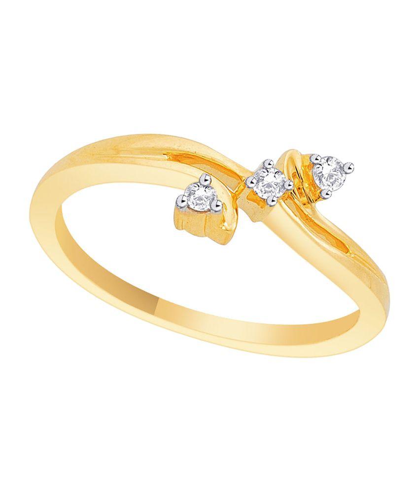 Asmi 18kt Golden Diamond Studded Bis Hallmark Ring