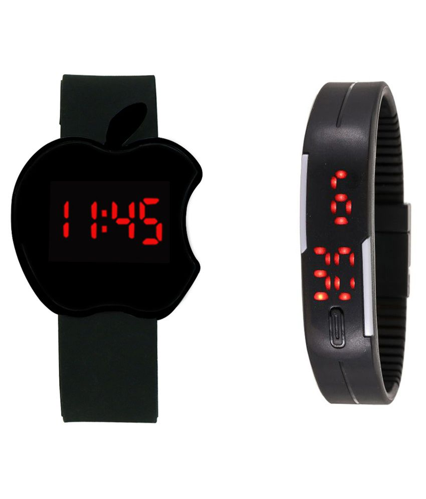 Crude Black Wrist Watch Pack Of 2 For Kids