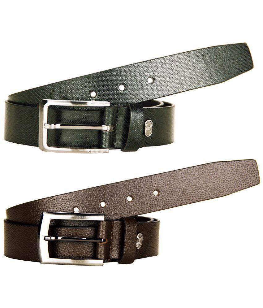 Goopash Brown And Black Leather Formal Belt For Men - Pack Of 2