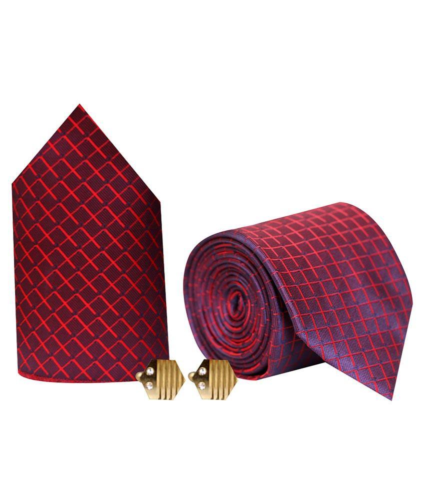Posto Combo Of Maroon Micro Fiber Broad Tie & Cufflink